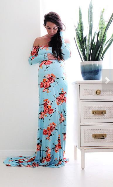 This blue floral maternity gown is gorgeous! | Sale 15% OFF long sleeve maternity gown photo shoot baby shower dress gender reveal- off shoulder in full Floral with train-* | maternity fashion | maternity clothes | maternity gown | maternity dress | maternity outfit | pregnancy | bump | #ad