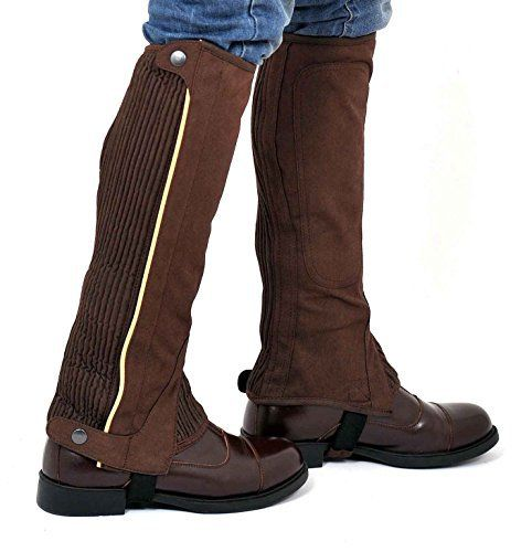 Riders Trend Women's Washable Amara Plain Synthetic  Suede Half Chaps Extremely Durable Microfibre Washable Amara Synthetic SuedeStrong Quality YKK Zip Fastening underneath Zipper Cover FlapElasticated Panel for a Snug Fit & to Fit Different Calf SizesRT-Branded Press StudsFeet Elastic Strap  BOOTS, footwear, high heels, SHOES, Slippers, wellington boots