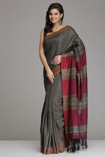 Self-Patterned Black  Beige Hand-Woven Tussar Silk Saree With Pink Striped Pallu