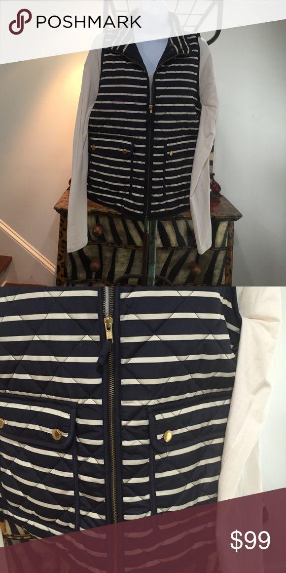 Cambridge Navy/Cream Striped Vest- Sz L Great Sleeveless Zippered Front Vest Cambridge Jackets & Coats Vests