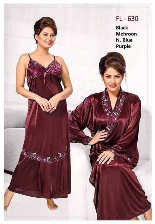 7342b972d5 2 Pcs Maroon FL-630 - Flourish Exclusive Bridal Nighty Set Collection