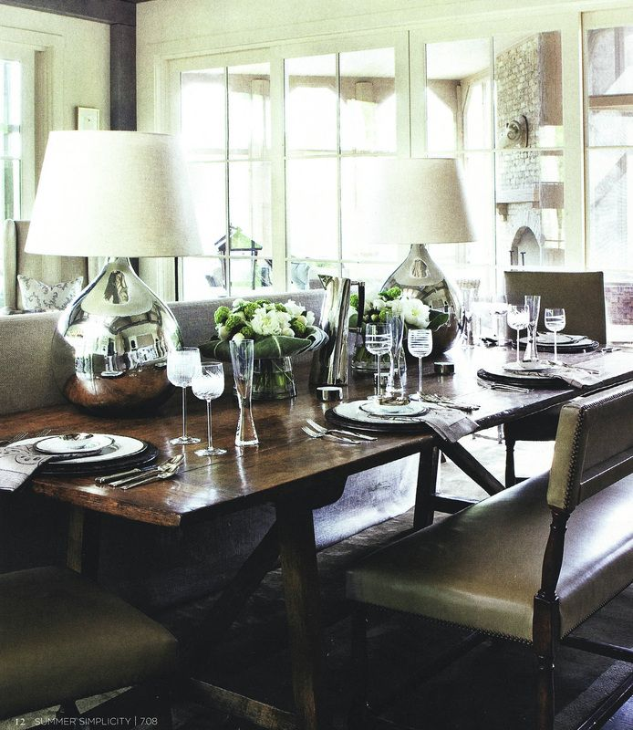 Awesome Dining Table As Console Table + Lighting And Bench Seating.