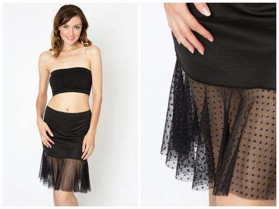 Black Dotted Tulle Slip Dress Extender - All Sizes