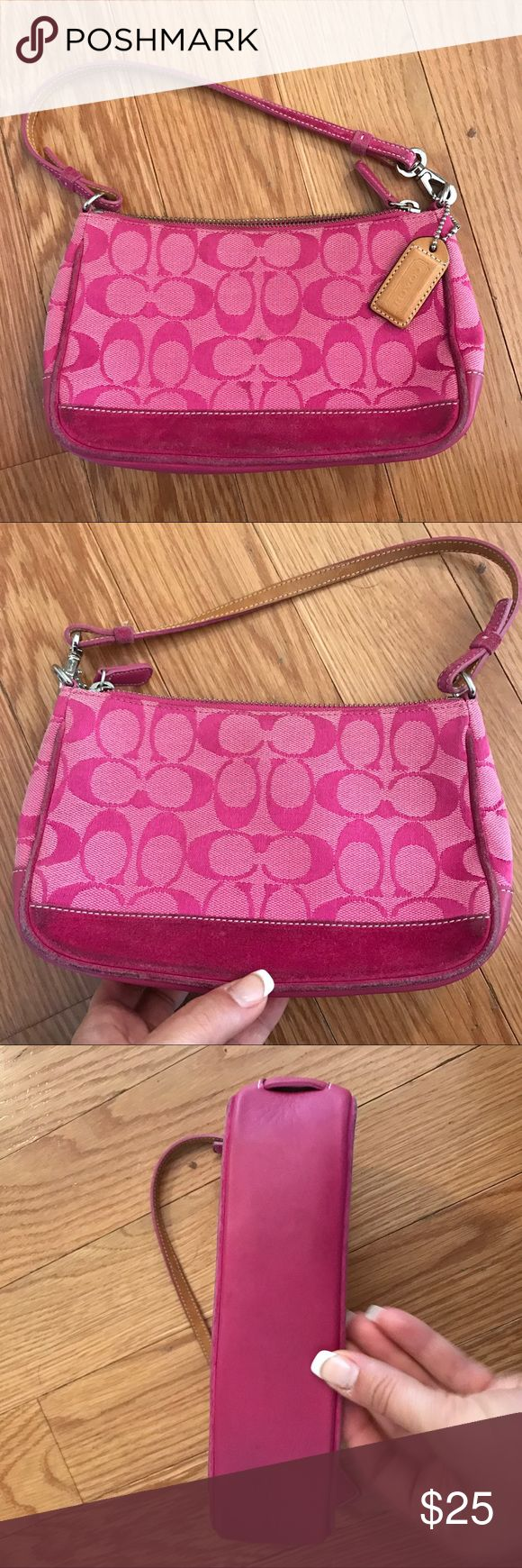 Authentic COACH Clutch This is an authentic COACH Clutch with signature monogram pattern and suede in hot pink. Great for a night out! Coach Bags