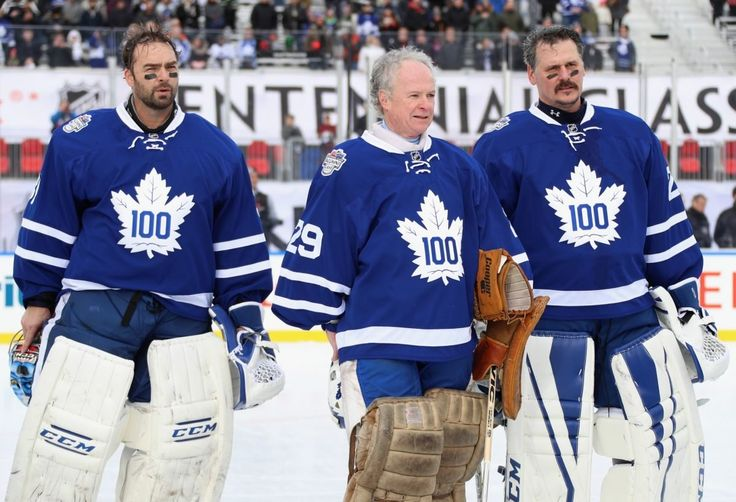 TORONTO, ON – DECEMBER 31: (L-R) Toronto Maple Leafs alumni goaltenders Curtis Joseph #31, Mike Palmateer #29 and Felix Potvin #29 prepare to play in the 2017 Rogers NHL Centennial Classic Alumni Game against the Detroit Red Wings alumni at Exhibition Stadium on December 31, 2016 in Toronto, Canada.