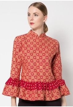 Blus Katun Sahara from Batik Putra Bengawan in red_1