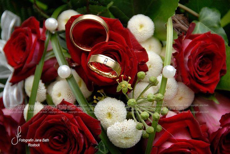 Brautstrauss rot und Trauringe. Fotografiert von Fotografin Jana Bath aus R …  – Hochzeit, Brautstrauss, Ringe