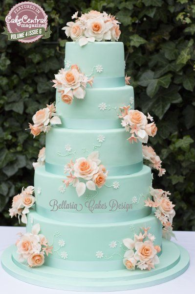 Peach and Mint Floral Inspired Cake