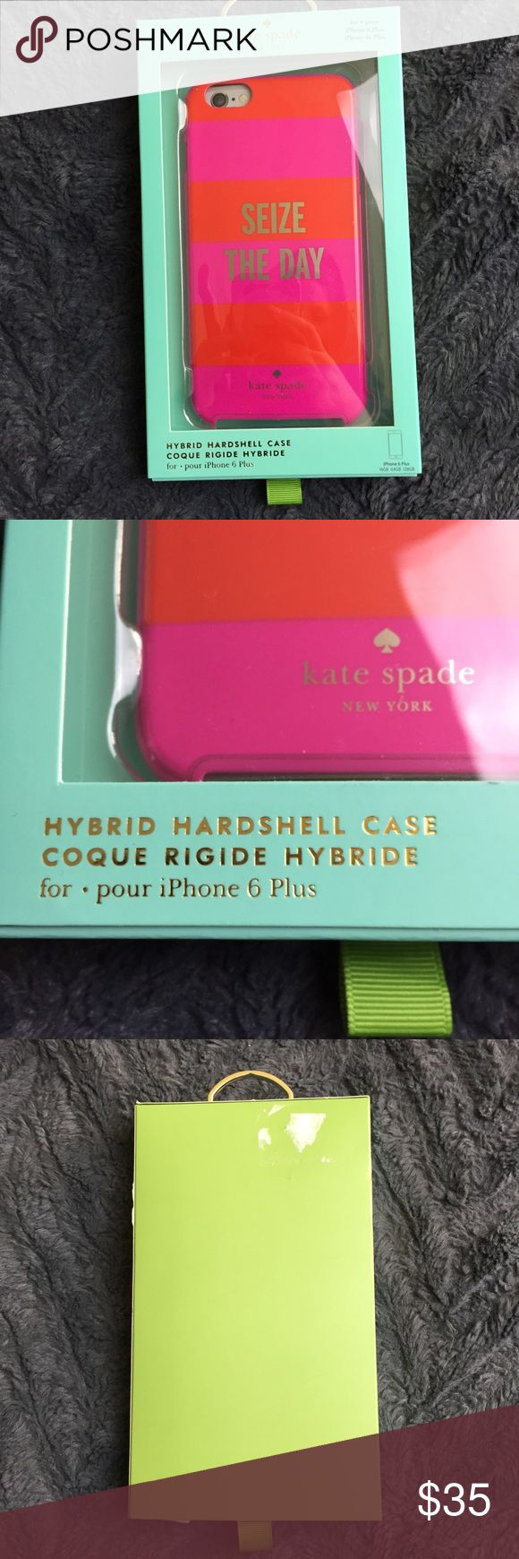 """Kate Spade Seize The Day iPhone 6 Plus Hard Case Brand new in box Kate Spade New York """"Seize the Day"""" gold lettered pink and red striped iPhone 6 Plus hybrid hardshell phone case. -16gb/64gb/128gb kate spade Accessories Phone Cases"""