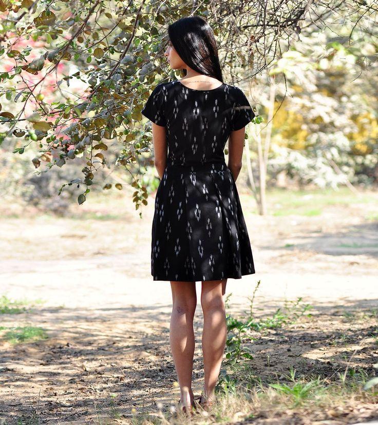 Black pleated skater dress