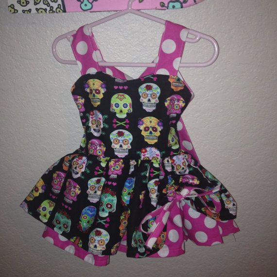 Baby girl and toddler retro-style sugar skull dress sizes newborn to 4t available on Etsy, $39.00