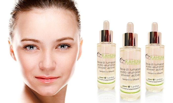 Groupon Goods Global GmbH: 3 siero con bava di lumaca e acido ialuronico power active 30 ml a 29,99 € (90% di sconto)