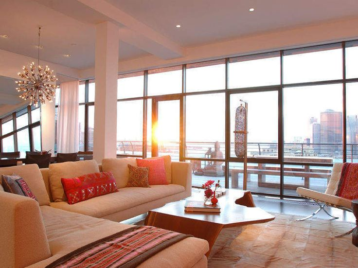 Sectional living area in dumbo penthouse