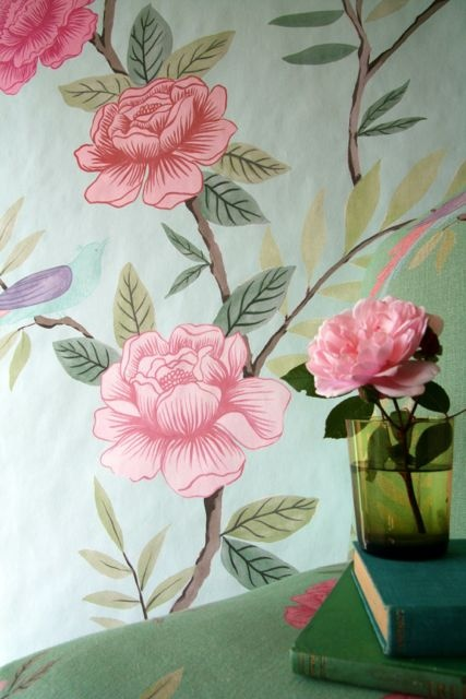 chinoiserie grande wallpaper duck egg and pink