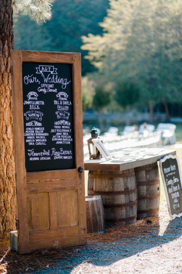 Blackboard sign on an old wood door - used as a wedding table plan. Purple Rustic Wedding: Tiffany + Adam