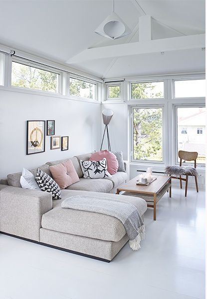 ☆neutral living room ~ white walls & floor, beige couch, minimalist gallery wall + lots of light