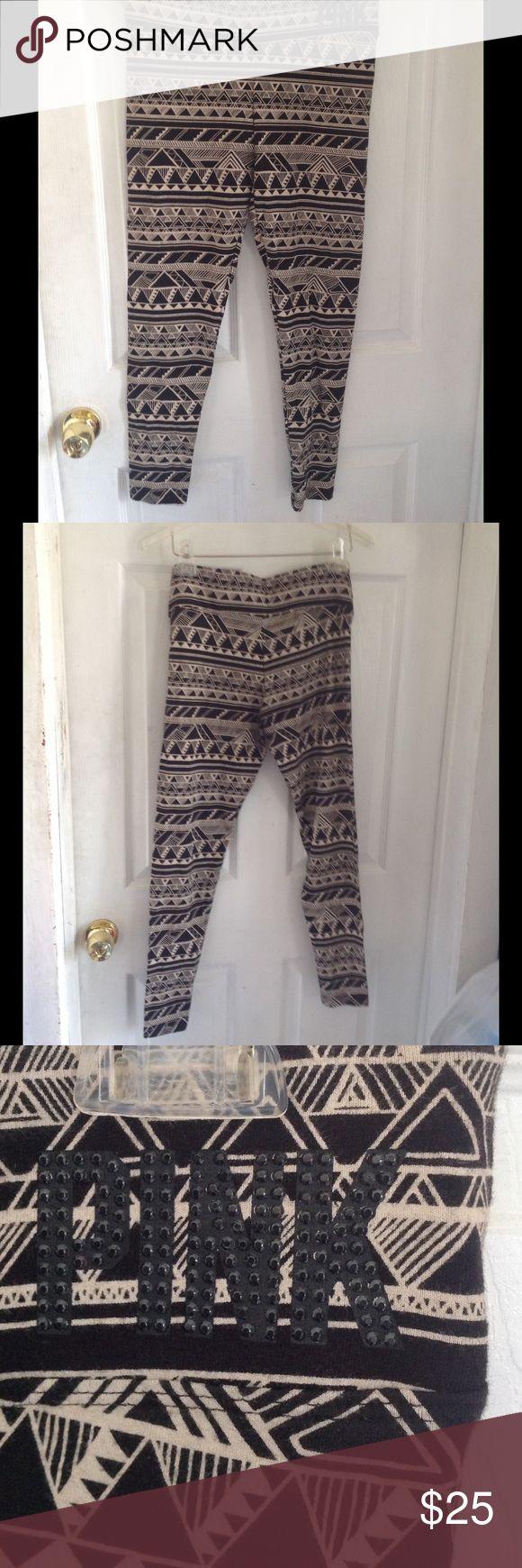 CYBER WEEK DEAL PINK VS Tribal Yoga Pants Gently used. No signs of wear. Really cute. Rhinestones intact. Victoria's Secret Pants Leggings