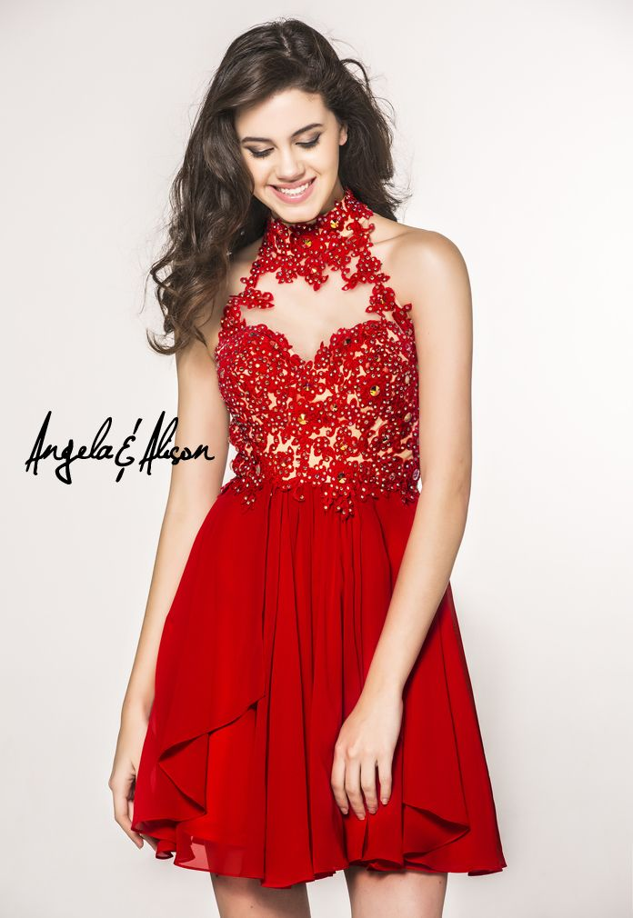 Style 42041 Illusion sweetheart halter neckline, floral applique top and flowing skirt. Perfect for Pageants, Prom, Homecoming, Gala, Wedding, Formal, Graduation, Ball... etc.