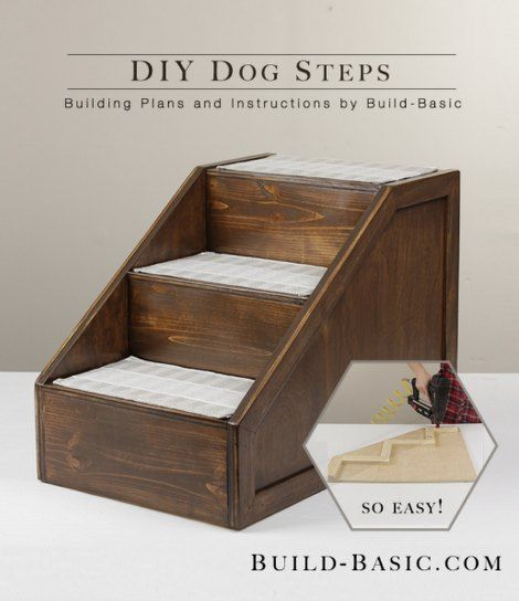 DIY Pet Steps | Give your dog or cat a boost with this DIY Pet Steps. Build your own pet steps to save money on the cost of mediocre store bought steps.