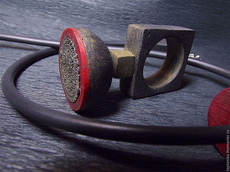 """Купить Кольцо-кулон из полимерной глины """"Ароза"""" - ярко-красный, кольцо-кулон, урбан, гранж"""
