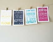 Set of Four 5x7 Kitchen Art Prints of Family Recipes with Handlettering