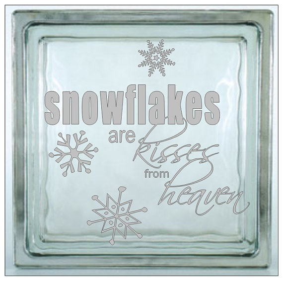 Glass block vinyl decal 7 x 7 snowflakes are kisses by shopncrop 4 00