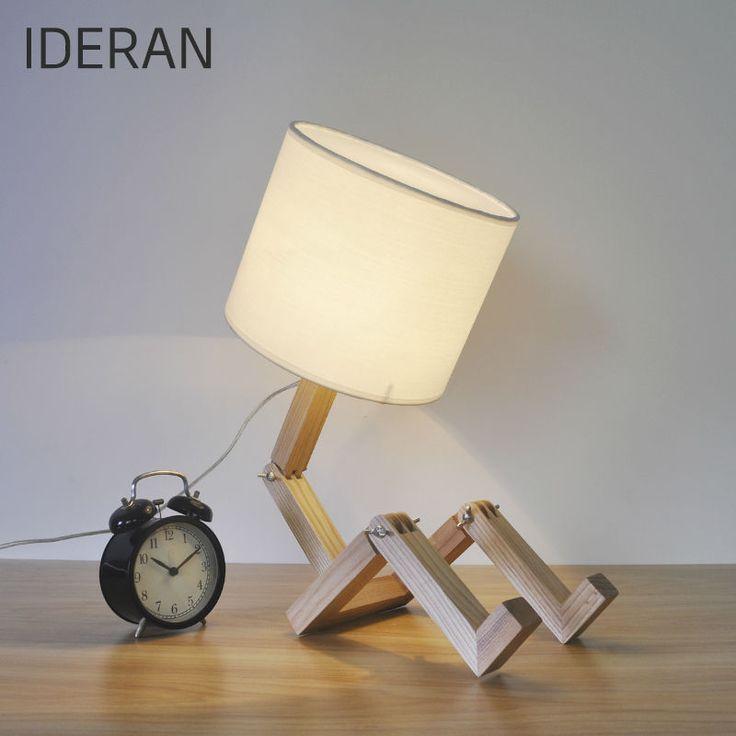 Ideran настольная лампа и деревянные фары фонариприродный робот Art личность твердой древесины кофе ресторан моды современная спальня