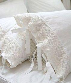 Fundas para almohadas con puntilla valenciana