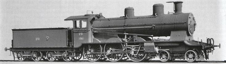 Schnellzuglocomotive A 3/5 Nr. 231 der Jura-Simplon-Bahn, gebaut 1902 inn der Schweizeriſchen Locomotiv- und Machines-Fabrique zů Winterthur (Fabricationsnr. 1444), 1903 als Nr. 701 von den Schweizeriſchen Bundesbahnen übernommen, 1928 außer Dienſt geſtellt und anſchließend abgebrochen.