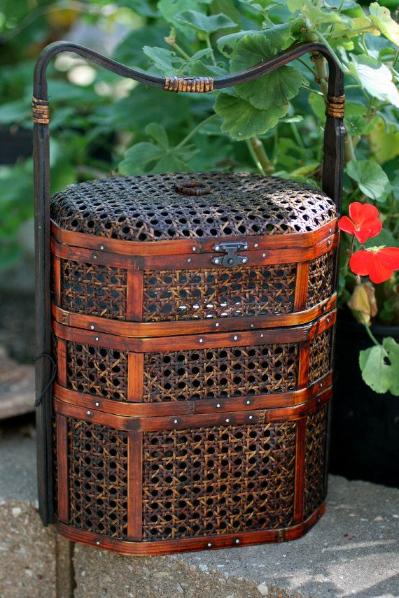 Vintage Wood Chinese Three Tier Wedding Basket by AbateArts, $180.00