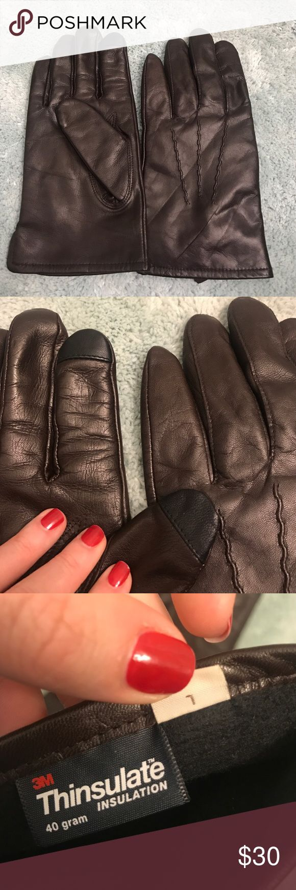 Womens leather gloves thinsulate lining - Men S Brown Leather Gloves With Tech Touch