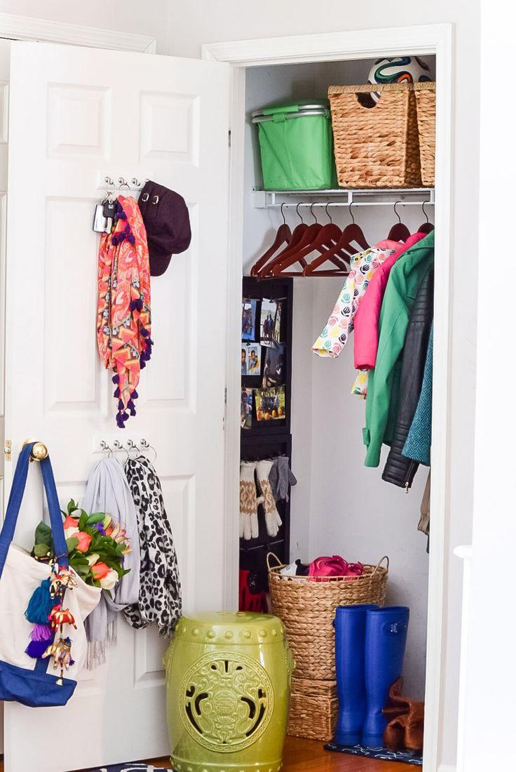 Closet storage bins and baskets - Declutter Your Coat Closet Like Casawatkinsblog Storage Bins And Baskets Are Organization Essentials