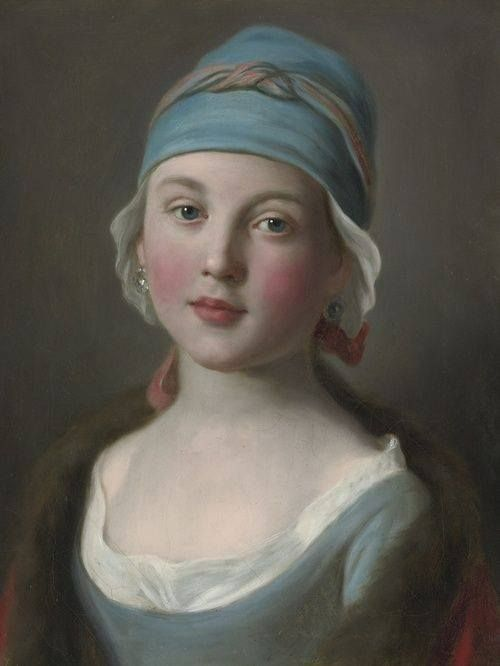 Pietro Antonio Rotari (1707-1762) - Portrait Of A Russian Girl In A Blue Dress And Headdress