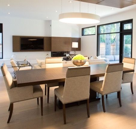 #Maguerite house dining room from #BryanInc seen on #HGTVCanada. Furniture from Cocoon: #Bradford table, #Phelps chairs. #bryanbaeumler #sarahbaeumler