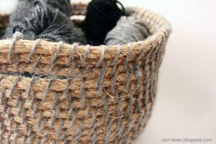 How To Make A Woven Yarn Basket : Best images about rope crochet on