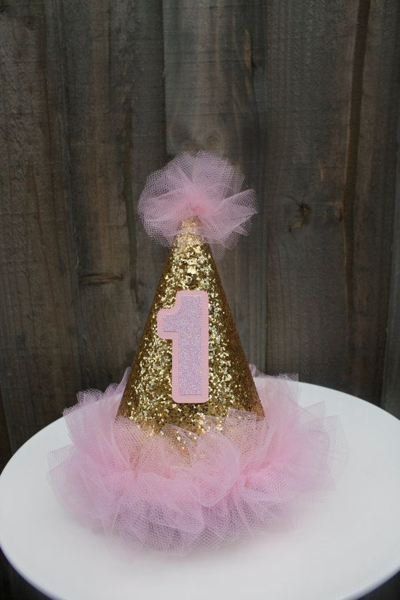 Tulle Glittery Birthday Girl Hat First BirthdayPink by PoshMyParty