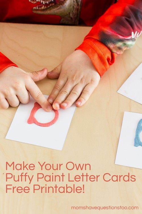 Puffy Paint Letter Cards, Great alternative to Montessori Sandpaper Letters.