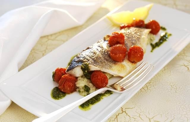 Grilled Sea Bass Fillets Recipe With Herb Risotto & Cherry Tomatoes