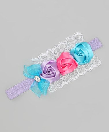 Take a look at this Charlotte Rose Couture Lavender & Turquoise Rosette Headband by Charlotte Rose Couture on #zulily today!