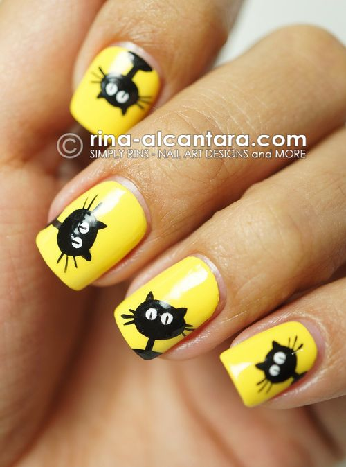 Black Cats Galore Nail Art Design for Halloween - Best 20+ Cat Nail Designs Ideas On Pinterest Cat Nails, Cat Nail