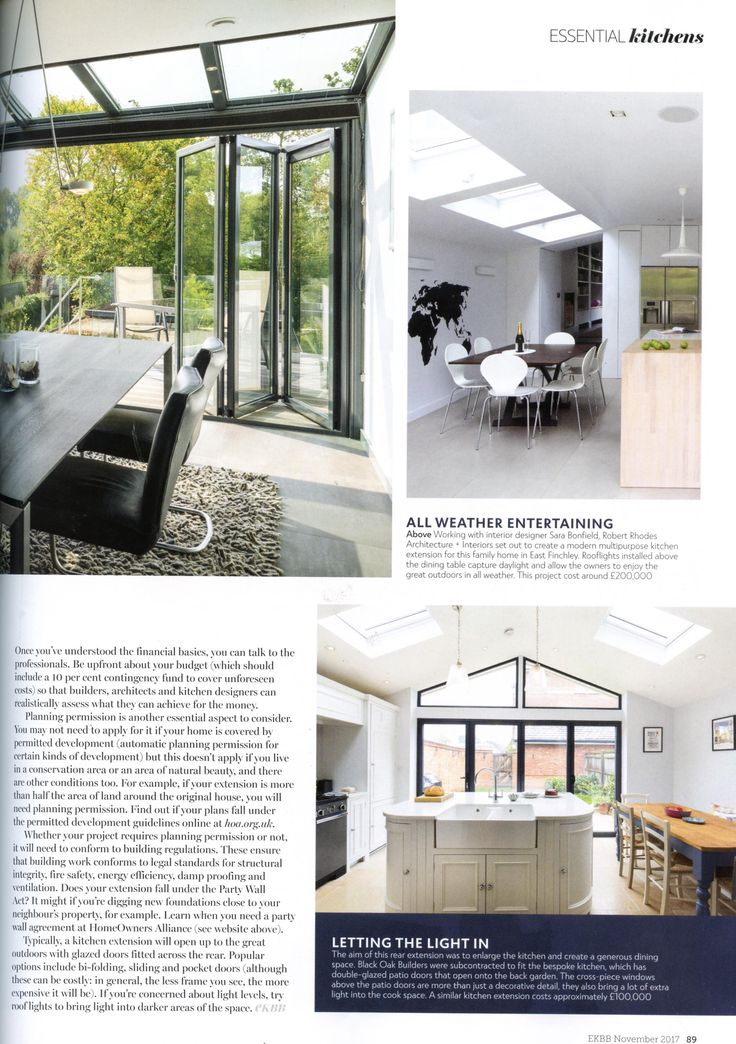 This extension from The Caulfield Company comprises a glazed roof section coupled with bi-folding doors. http://www.caulfieldcompany.co.uk/ Essential Kitchen Bathroom Bedroom November 2017
