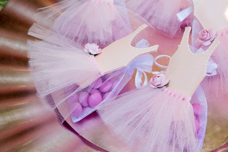 Favor bags in a ballerina tea party. #pink #sweets