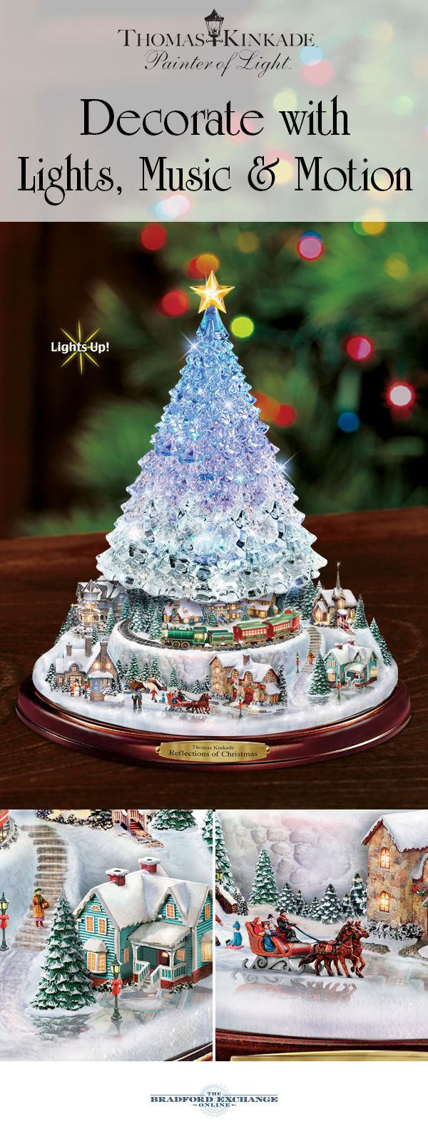 Thomas kinkade o holy night christmas stocking - Thomas Kinkade Christmas Tree With Lights Motion And Music