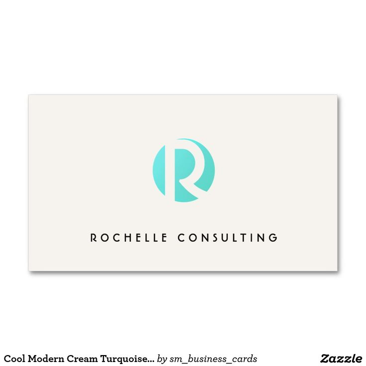 Cool Modern Cream Turquoise Blue Circle Monogram Business Card