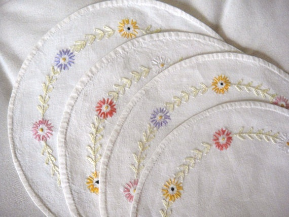 Set of Four Round Dresser Scarves.  Embroidered Flowers.