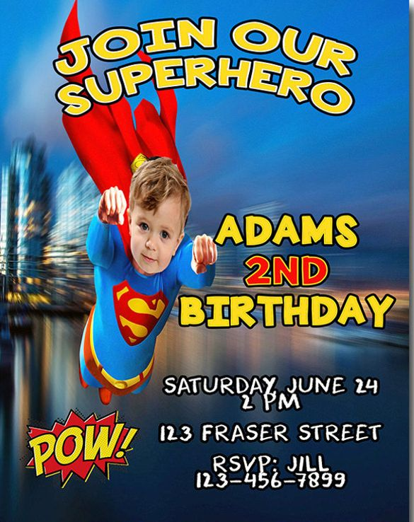 birthday invitations superman theme