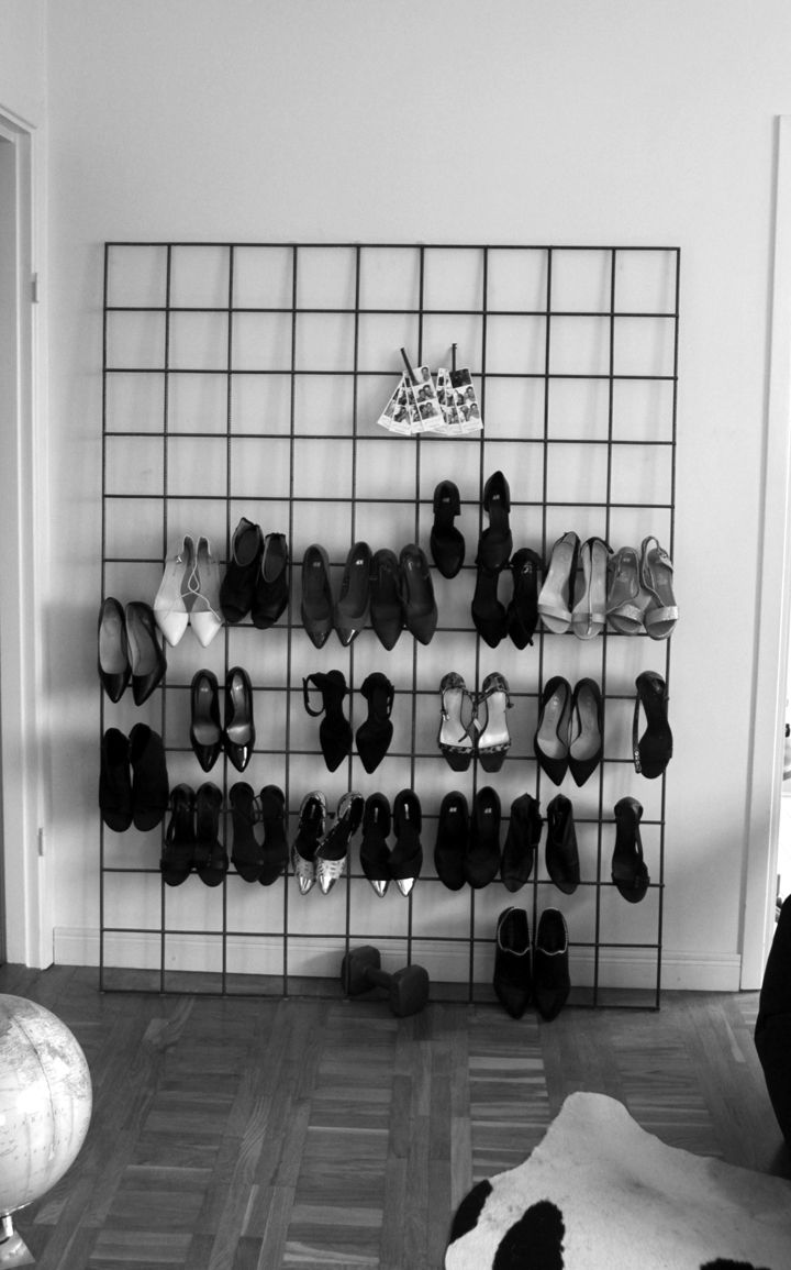 Diy metal grid shoe rack: