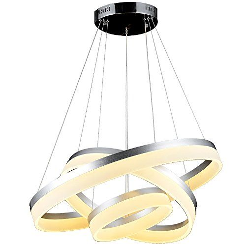 VALLKIN LED Ceiling Pendants Light DIY Styling Round Lighting With Milky  Acrylic 3 Rings 406080cm Warm