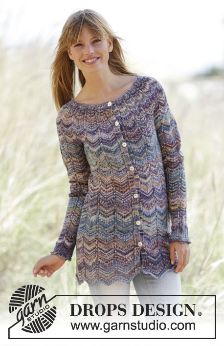 """Knitted DROPS jacket with zig-zag and round yoke in """"Fabel"""". Free Pattern"""