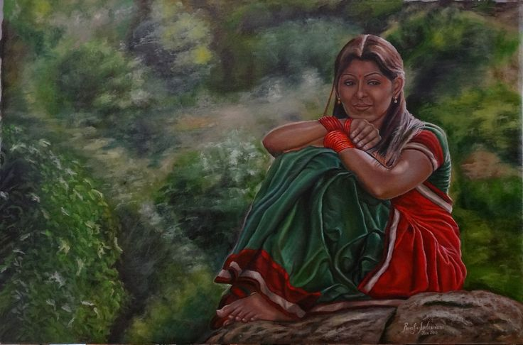 THE GIRL IN HALF SAREE, 36, Oil on Canvas, There are places like these that are found near hills and mountains. We have places like these near Chengalpattu, Mahabalipuram and so on. She found one such place and she is happily enjoying the environment while she is engrossed in some sort of observation.